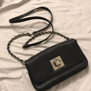 Express crossbody black leather bag